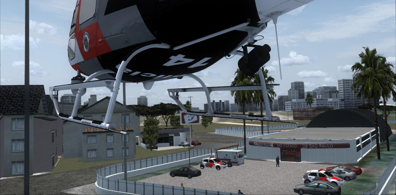 Lançamento Base de Radiopatrulha Aérea Águias PM SP Praia Grande Santos SP P3D/FSX Freeware Aguia-pg3
